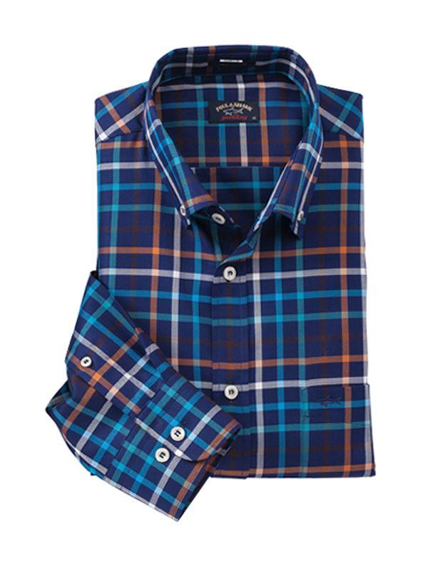 Navy Multicolor Plaid Shirt by Paul   Shark 0db94ce3100c